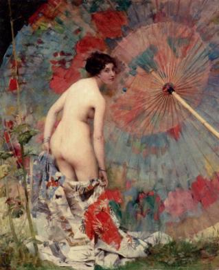Aime Nicolas Morot - Nude With A Japanese Umbrella