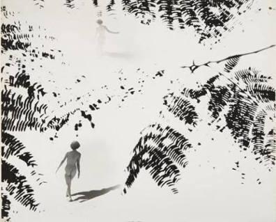 Minayoshi Takada - Double exposure, nude and leaves, circa 1948