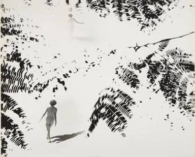 Minayoshi Takada - Double exposure, nude and leaves, circa 1948