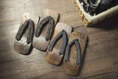 Onsen series : Wooden sandals on wooden floor